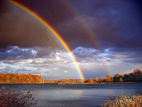フリー画像| 自然風景| 虹の風景| 湖の風景| アメリカ風景| ペンシルベニア州|      フリー素材|