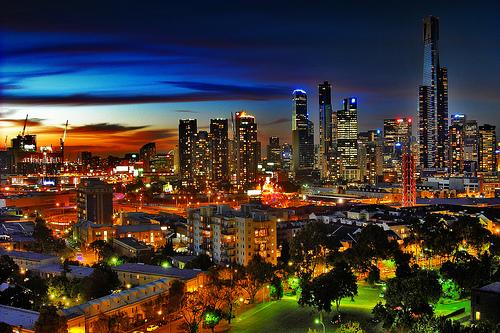 フリー画像| 人工風景| 建造物/建築物| 街の風景| 夜景| ビルディング| オーストラリア風景| メルボルン|    フリー素材|